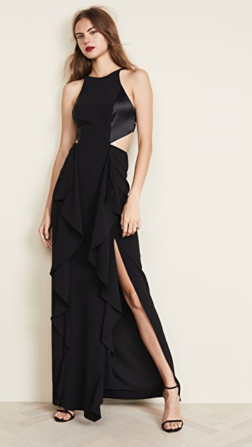 Halston Heritage High Neck Cutout Gown