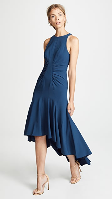 HALSTON Sleeveless High Neck Ruched Gown