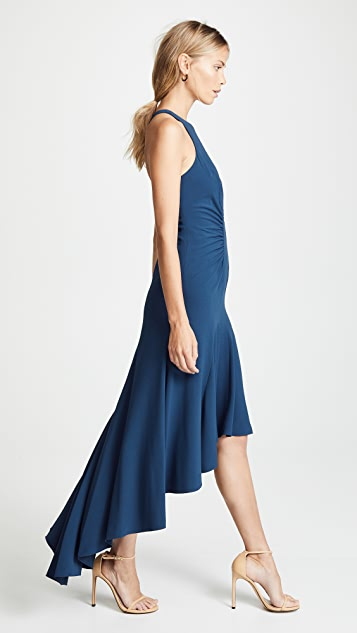Halston Heritage Sleeveless High Neck Ruched Gown