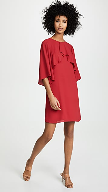 HALSTON Платье с высоким воротником и струящимися рукавами