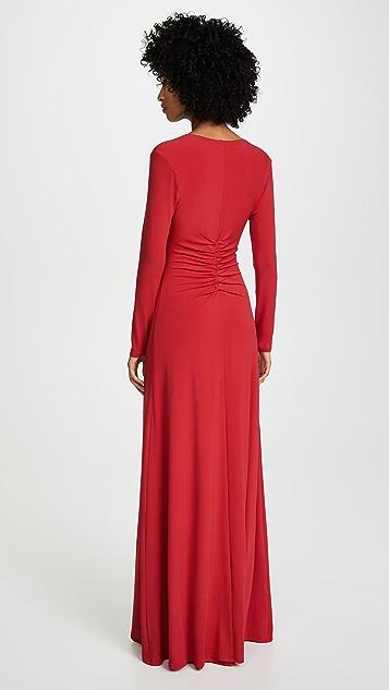 HALSTON Вечернее платье со сборками спереди и V-образным вырезом