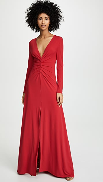 Halston Heritage V Neck Ruched Front Gown