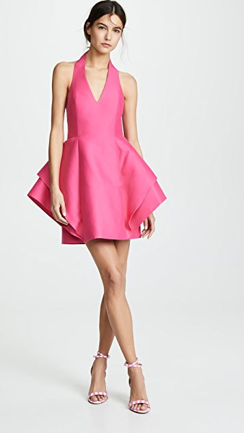 Halston Heritage Sleeveless Halter Dramatic Dress