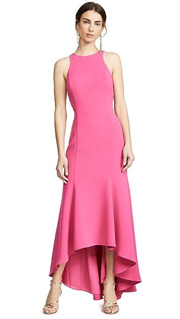 Halston Heritage Платье из крепа без рукавов с высокой горловиной