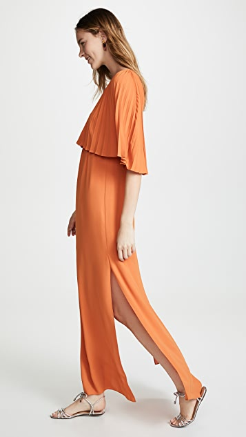 Halston Heritage Flowy Pleated Sleeve V Neck Dress
