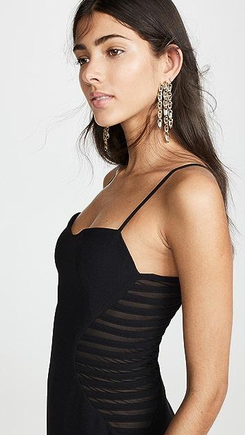HALSTON Sleeveless Dress with Strip Applique
