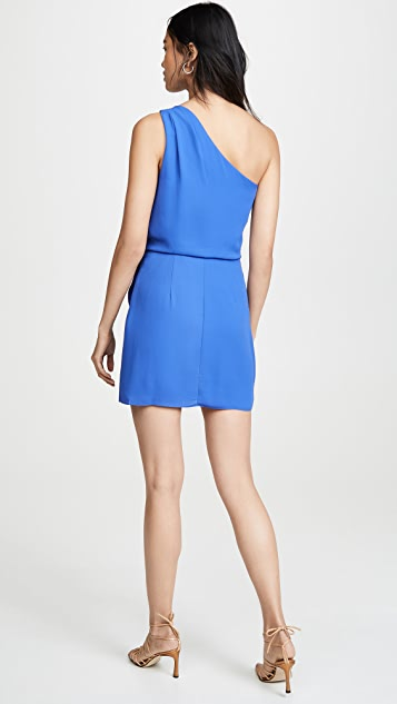 HALSTON One Shoulder Drape Dress