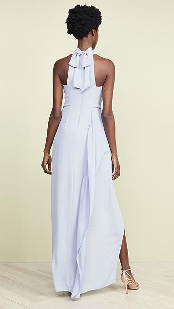 HALSTON Sleeveless Drape Gown