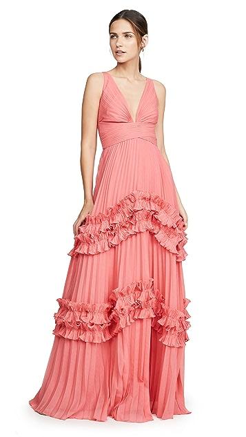 HALSTON Вечернее платье без рукавов с V-образным вырезом и вставками со сборками и оборками