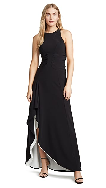 HALSTON High Neck Drape Gown with Ruching
