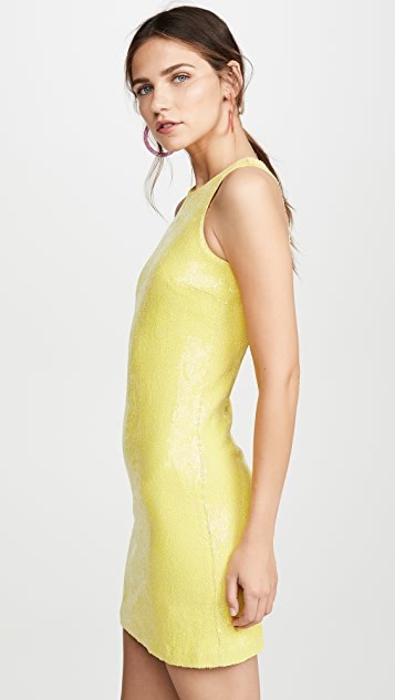 HALSTON Sleeveless Sequin Dress