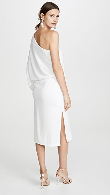 HALSTON Draped One Shoulder Midi Dress