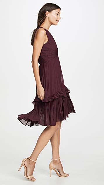 HALSTON Flounce Detail Pleated Dress