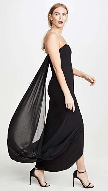 HALSTON Strapless Draped Back Georgette Gown