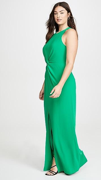 HALSTON Вечернее платье из крепа с перекрученным элементом и драпировкой