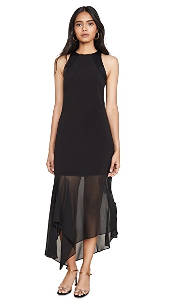 HALSTON Sleeveless Crepe Georgette Dress
