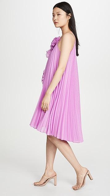 HALSTON Pleated Ruffle Dress