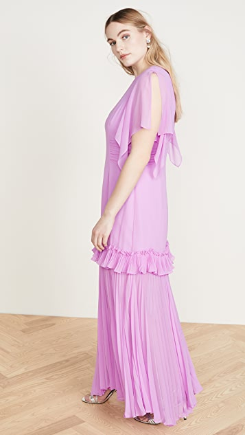 HALSTON Dramatic Pleated Gown