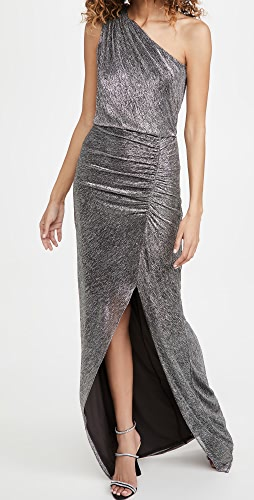 HALSTON - Helen Metallic Knit Gown