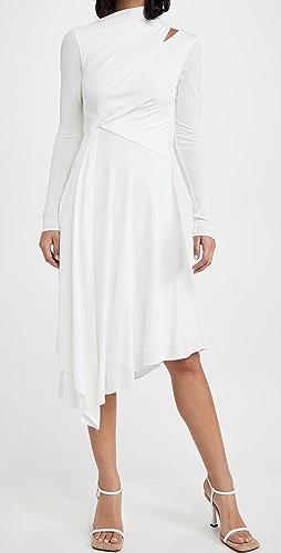 HALSTON - Prisma Long Sleeve Jersey Dress