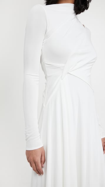 HALSTON Prisma 平纹针织长袖连衣裙