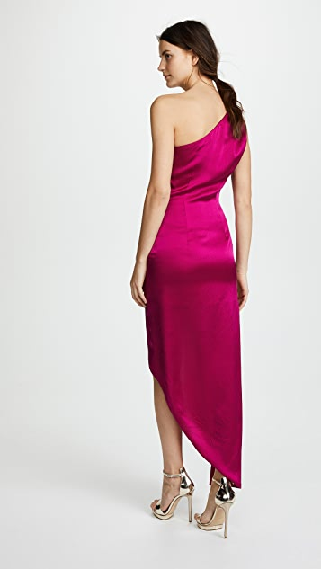 HANEY Nadia One Shoulder Dress with Ring Hardware
