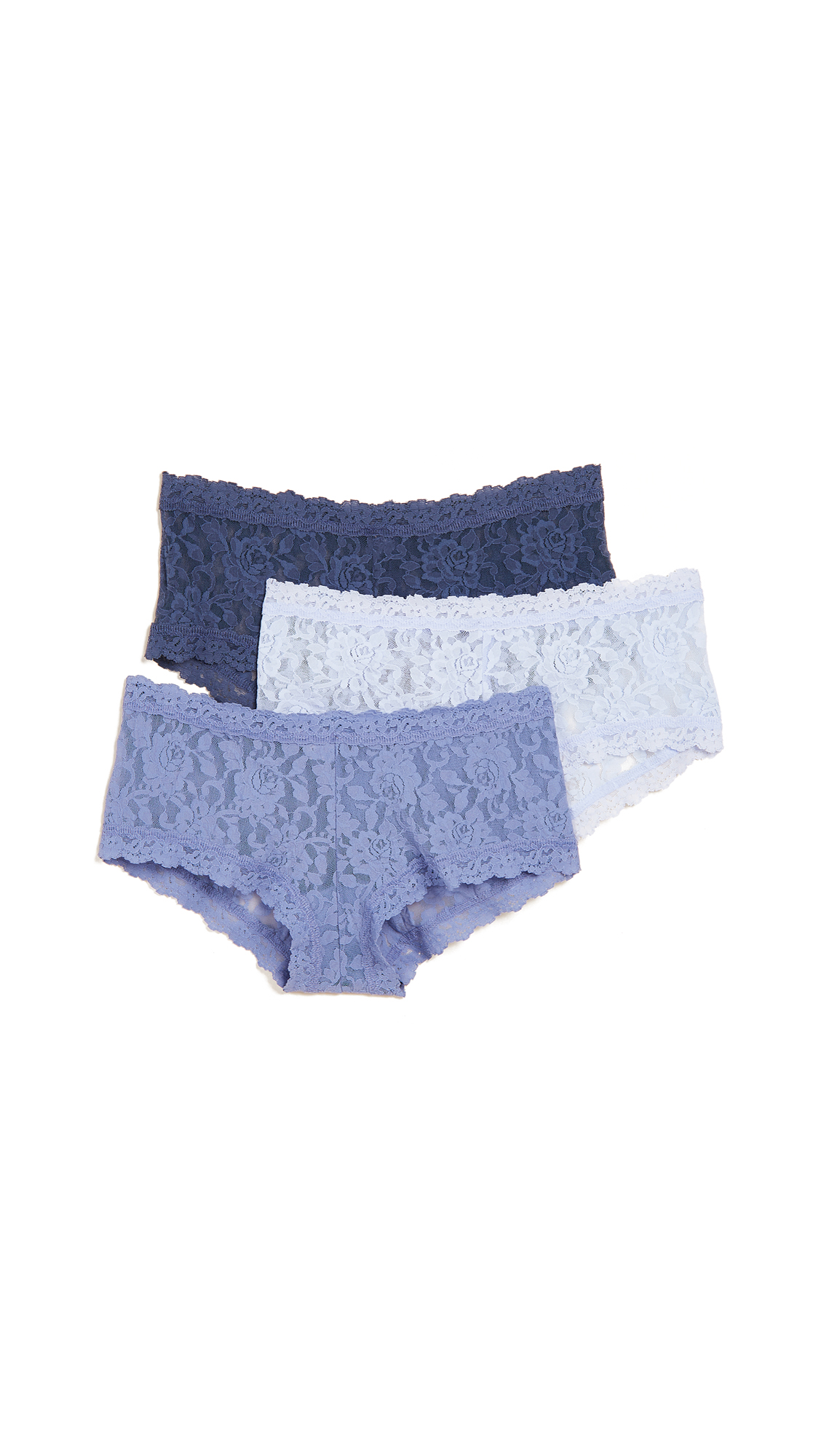 Hanky Panky 3 Pack Signature Lace Something Blue Boy Shorts