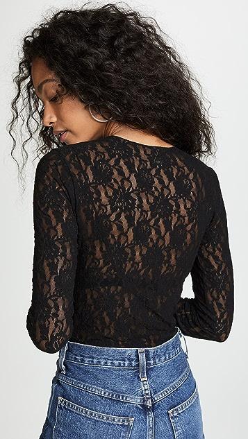 Hanky Panky Lace Long Sleeve Bodysuit