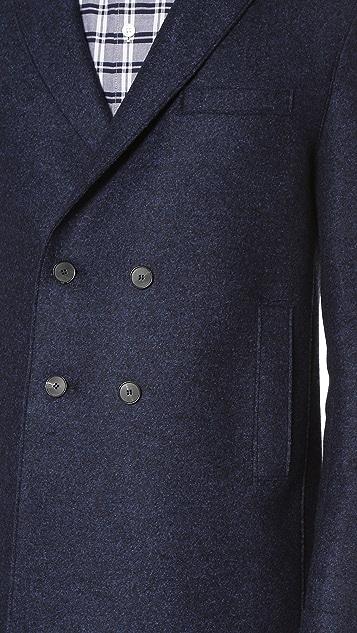 Harris Wharf London Boxy Double Breasted Pressed Wool Coat
