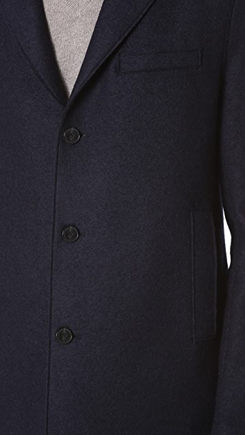 Harris Wharf London Boxy 3 Button Pressed Wool Coat