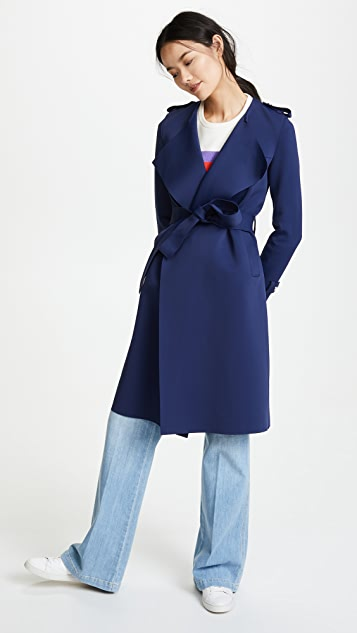 Harris Wharf London Round Neck Trench Coat - Ink