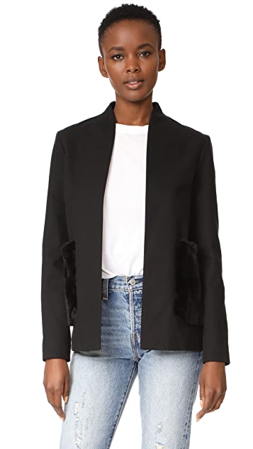 Harvey Faircloth Collarless Jacket with Faux Fur Pockets