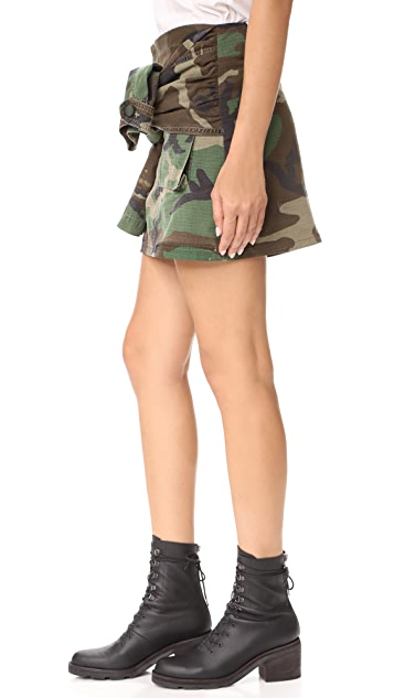 Harvey Faircloth Tie Sleeve Camo Miniskirt