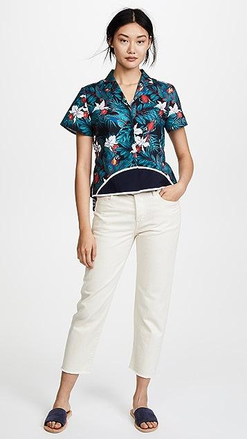Harvey Faircloth Short Sleeve Hawaiian Top with Belted Back
