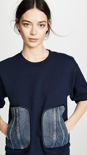 Harvey Faircloth Sweatshirt with Denim Pockets