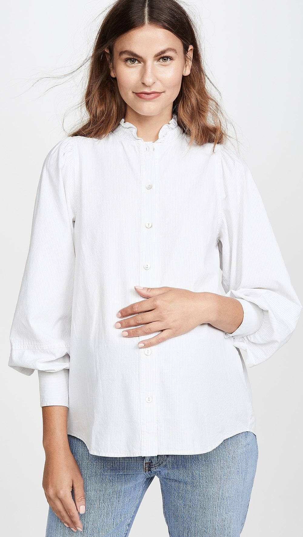 Ruffle collar maternity blouse
