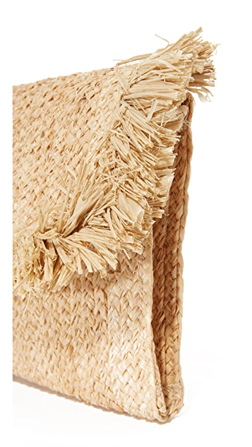 Hat Attack Raffia Clutch with Fringe