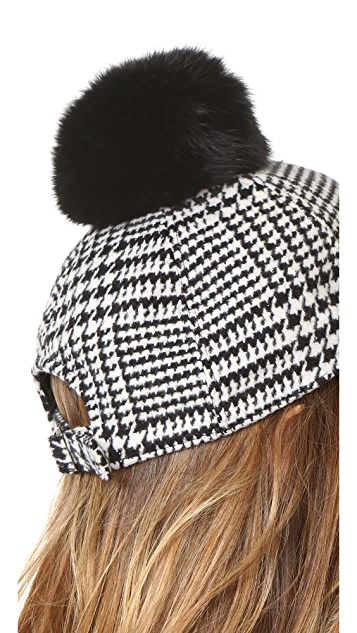 Hat Attack Houndstooth Baseball Cap with Rabbit Pom