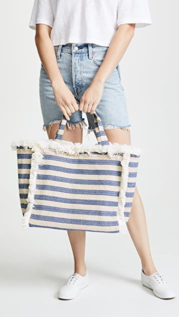 Hat Attack Fringed Canvas Tote Bag