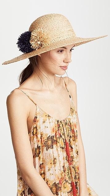 Hat Attack Natural Braided Pom Pom Sunhat