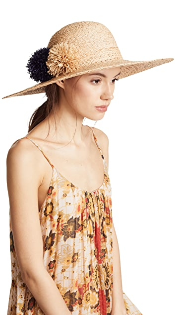 Hat Attack Natural Braided Pom Pom Sunhat