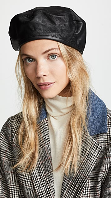 Hat Attack Leather Beret Hat