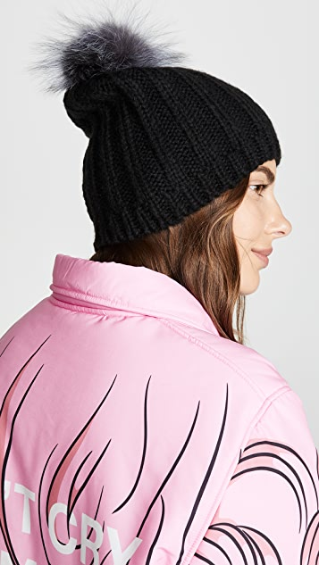 Hat Attack Soft Rib Slouchy Luxe Pom Hat
