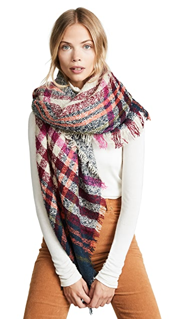 Hat Attack Bright Plaid Blanket Scarf