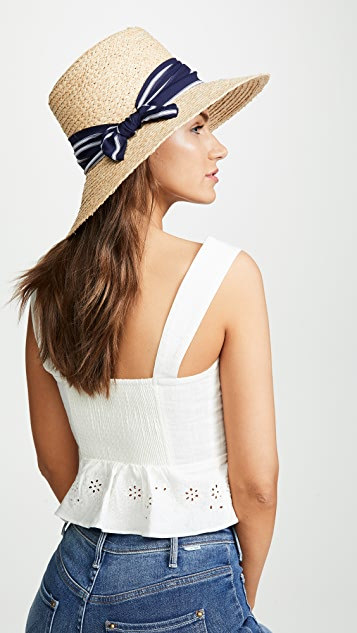 Hat Attack Lampshade Hat - Natural/Navy Stripe
