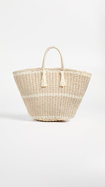 Hat Attack Large Soft Wicker Weave Tote - Natural