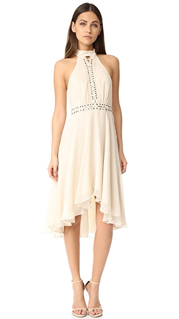 Haute Hippie High Neck Mini Dress with Lacing