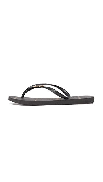 Havaianas Slim Logo Metallic Fine Lines Flip Flops