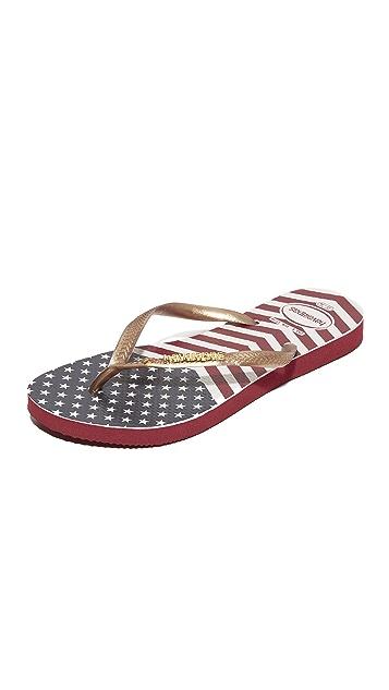 Havaianas Slim Chevron Stars and Stripes Flip Flops
