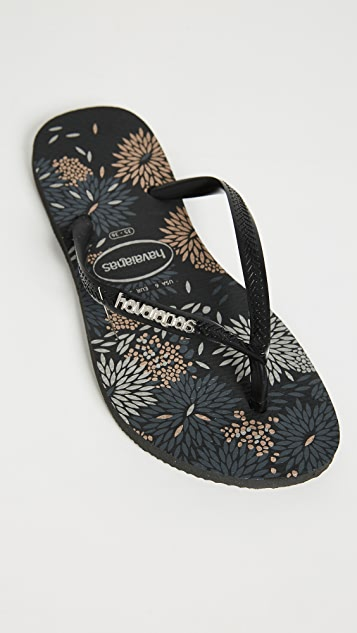 Havaianas Slim Logo Metallic Bloom Flip Flops